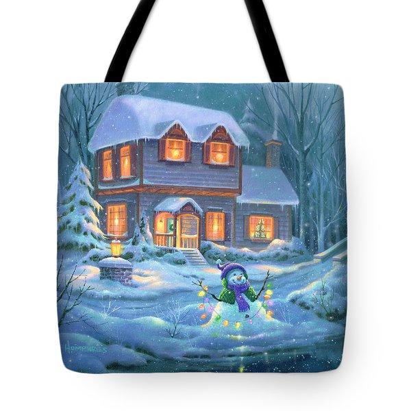Snowy Bright Night Tote Bag