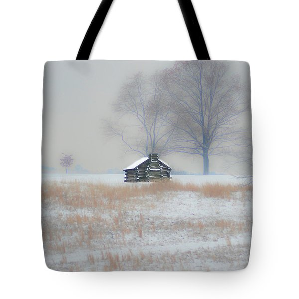 Snowy Cabin At Valley Forge Tote Bag by Bill Cannon