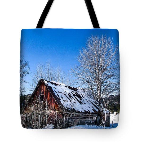 Snowy Cabin Tote Bag by Robert Bales