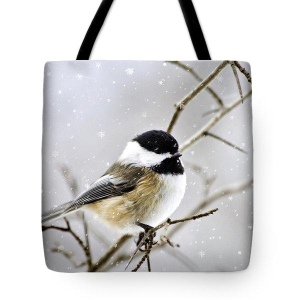 Snowy Chickadee Bird Tote Bag by Christina Rollo