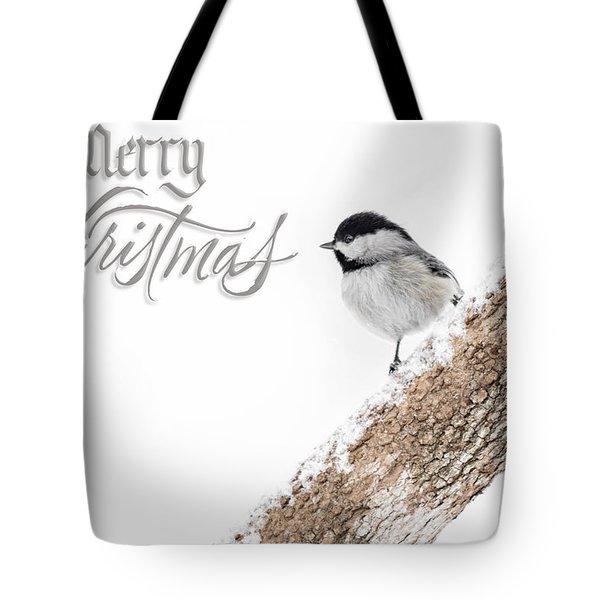 Snowy Chickadee Christmas Card Tote Bag