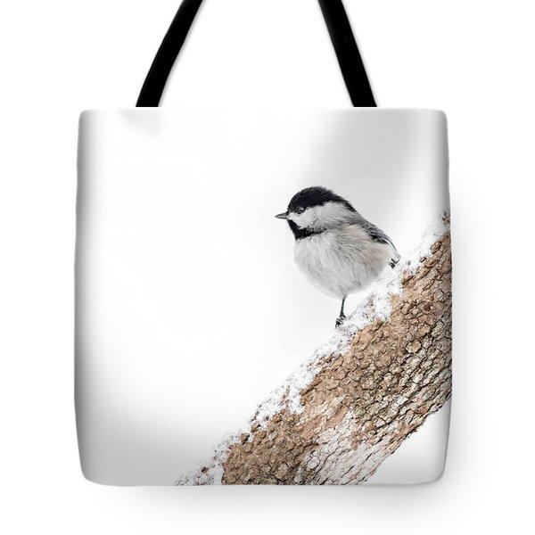 Snowy Chickadee Tote Bag