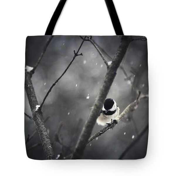 Snowy Chickadee Tote Bag