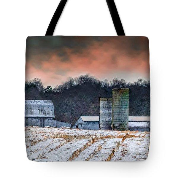 Snowy Cornfield Tote Bag