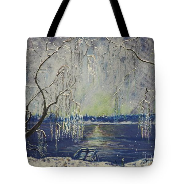 Snowy Day At The Lake Tote Bag