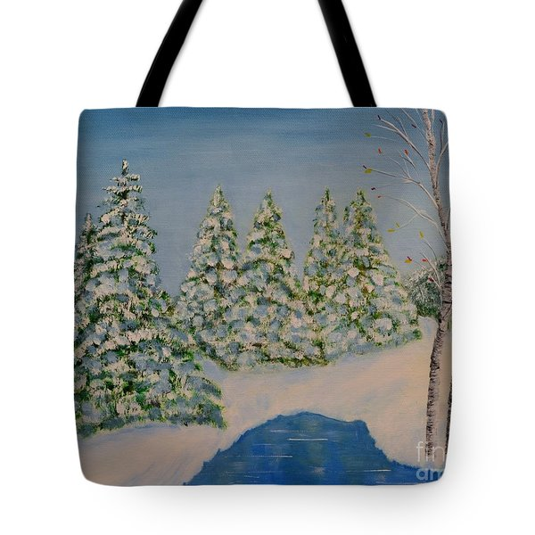 Tote Bag featuring the painting Snowy Day by Melvin Turner