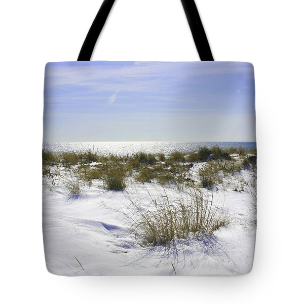 Tote Bag featuring the photograph Snowy Dunes by Karen Silvestri