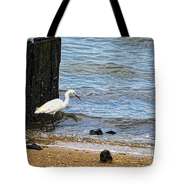 Snowy Egret At The Shore Tote Bag