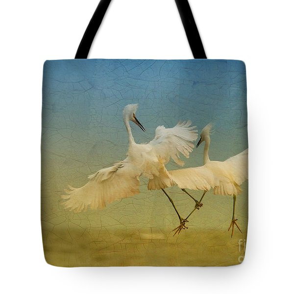 Snowy Egret Dance Tote Bag