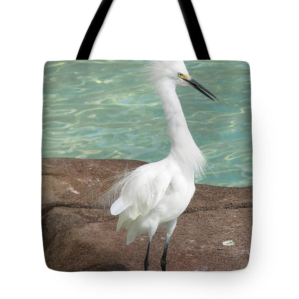 Snowy Egret Tote Bag by DejaVu Designs