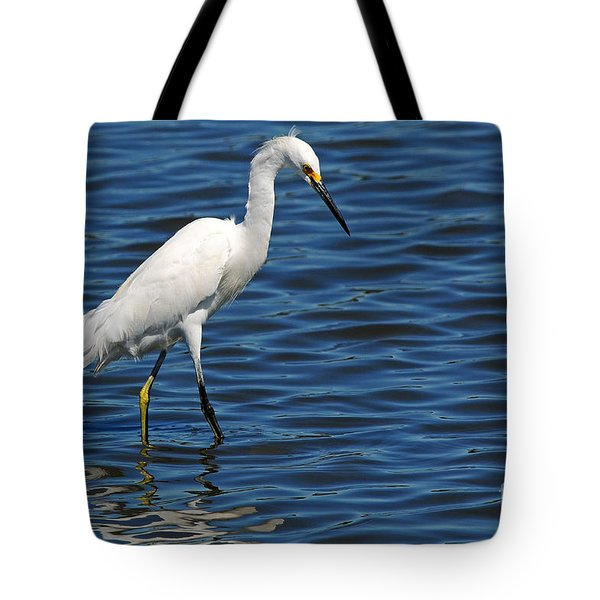 Tote Bag featuring the photograph Snowy Egret Foraging by Olivia Hardwicke