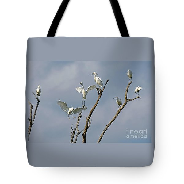 Tote Bag featuring the photograph Snowy Egret Inn by Olivia Hardwicke