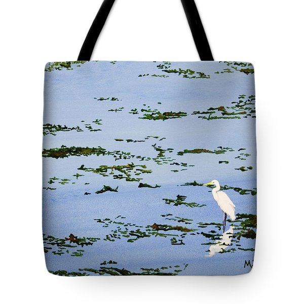 Snowy Egret Tote Bag by Mike Robles
