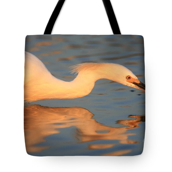 Snowy Egret Mirror Tote Bag