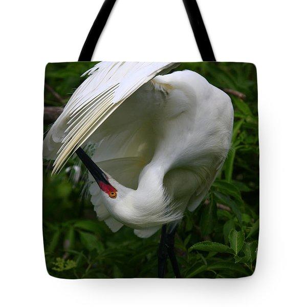 Snowy Egret Preening Tote Bag