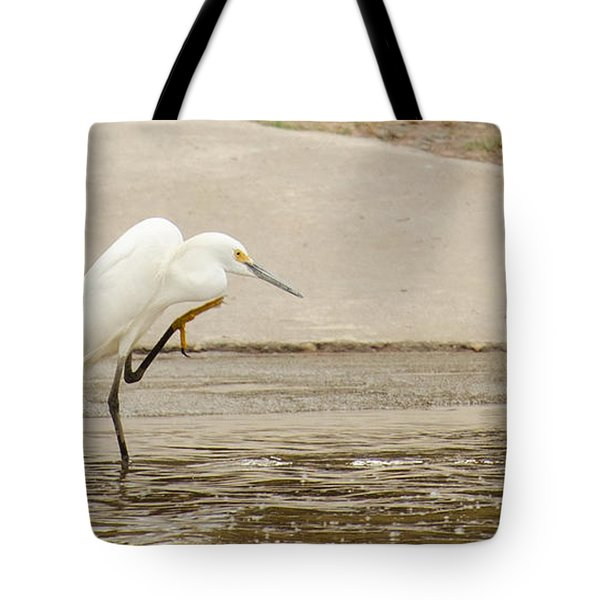 Snowy Egret Taking Advantage Of The Flood Tote Bag