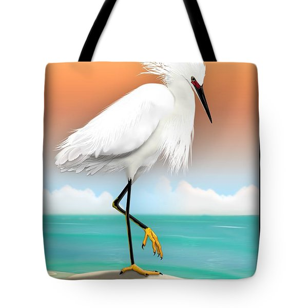 Snowy Egret White Heron On Beach Tote Bag by John Wills