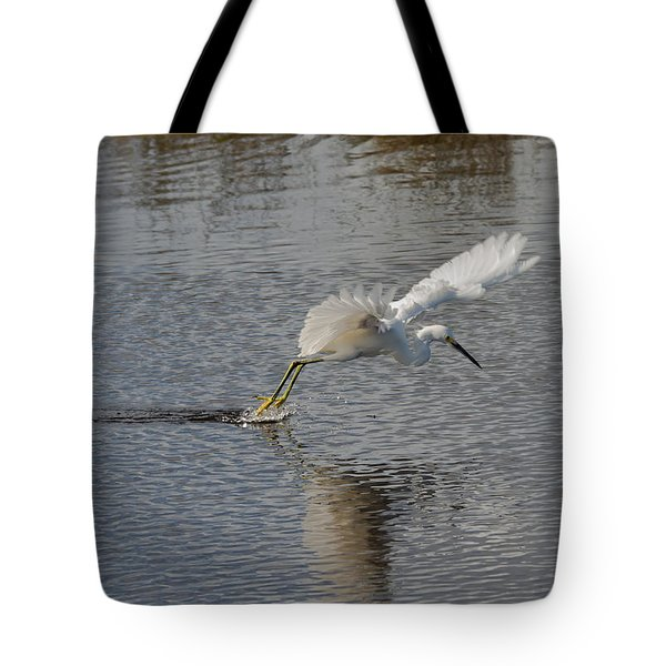 Tote Bag featuring the photograph Snowy Egret Wind Sailing by John M Bailey
