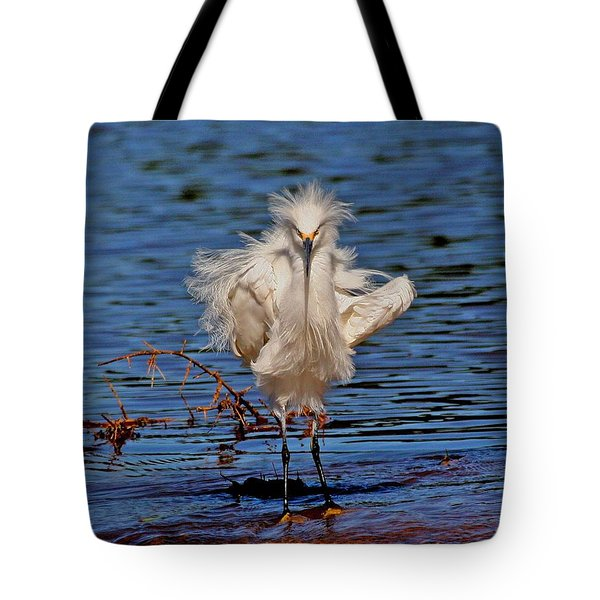 Snowy Egret With Yellow Feet Tote Bag by Tom Janca