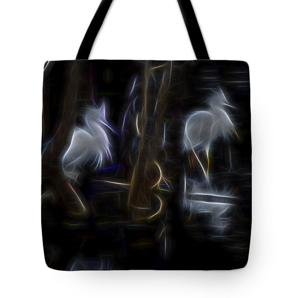 Snowy Egrets 1 Tote Bag by William Horden