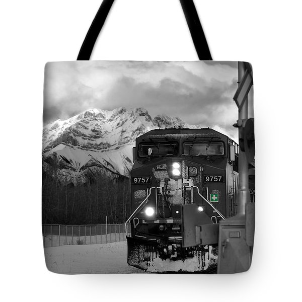 Snowy Engine Through The Rockies Tote Bag