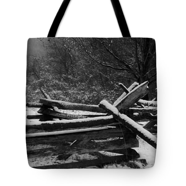 Snowy Fence Tote Bag by Michael Porchik