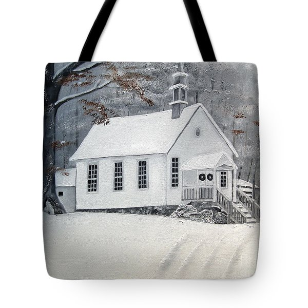 Snowy Gates Chapel  -little White Church - Ellijay Tote Bag