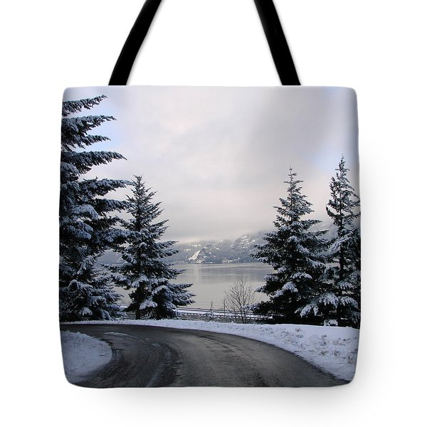 Tote Bag featuring the photograph Snowy Gorge by Athena Mckinzie