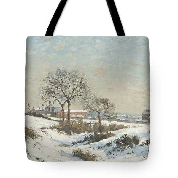 Snowy Landscape At South Norwood Tote Bag by Camile Pissarro