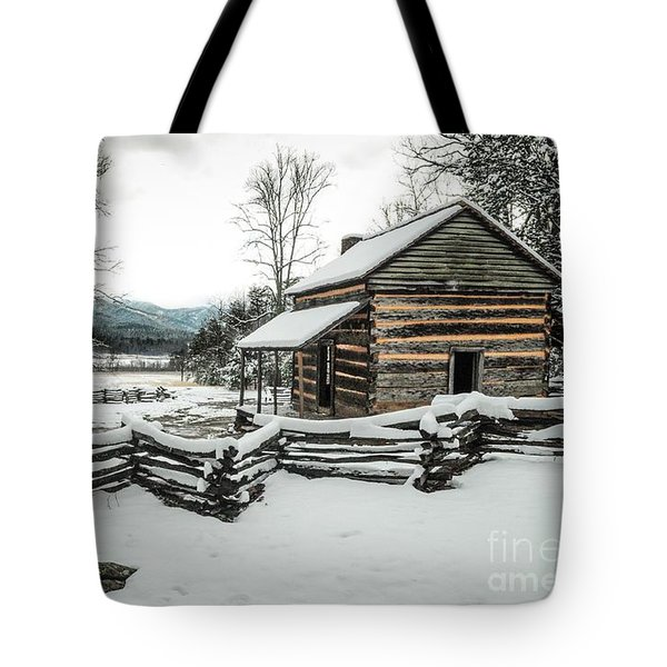 Tote Bag featuring the photograph Snowy Log Cabin by Debbie Green