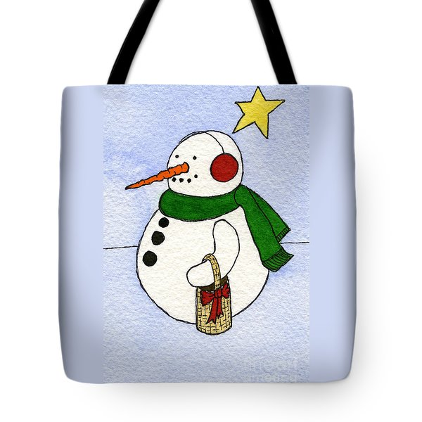 Snowy Man Tote Bag by Norma Appleton