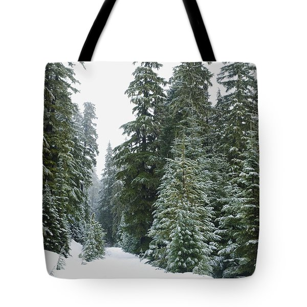 Snowy Mount Hood Forest Tote Bag by Charmian Vistaunet
