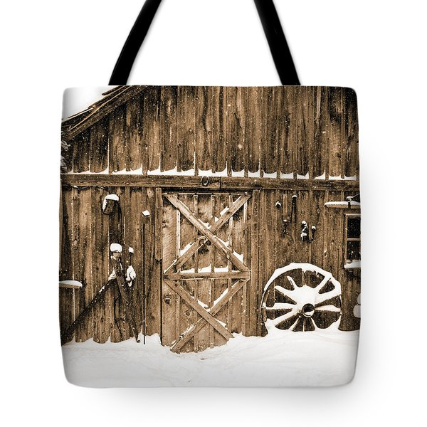Snowy Old Barn Tote Bag