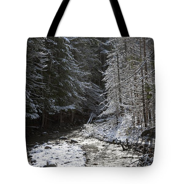 Snowy Oregon Stream Tote Bag by Peter French