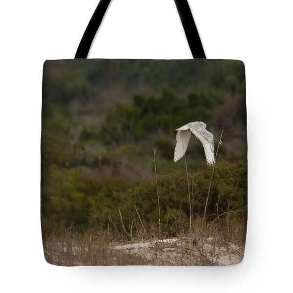 Tote Bag featuring the photograph Snowy Owl Dune Flight by Paul Rebmann