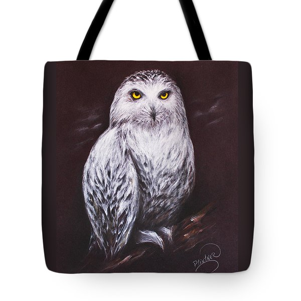 Snowy Owl In The Night Tote Bag by Patricia Lintner