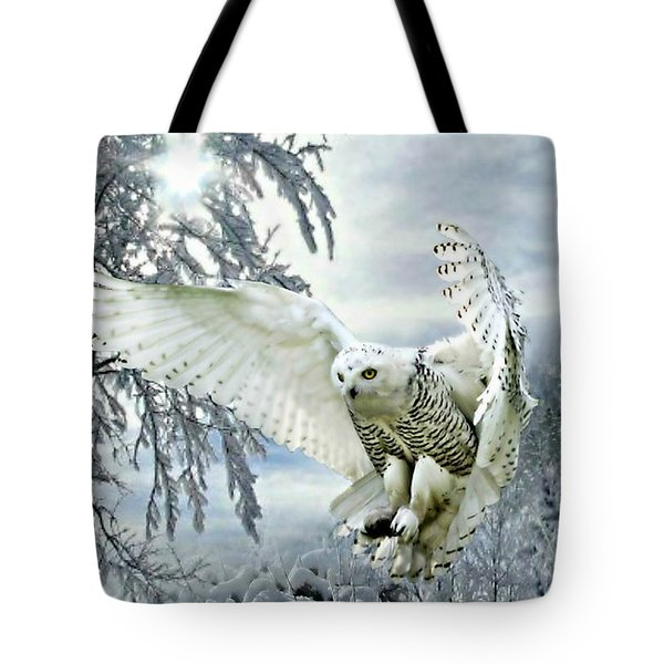 Tote Bag featuring the mixed media Snowy Owl by Morag Bates