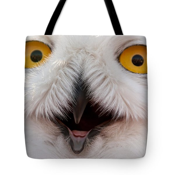 Snowy Owl Up Close And Personal Tote Bag by Laura Duhaime