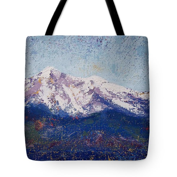 Tote Bag featuring the painting Snowy Peaks by Margaret Bobb