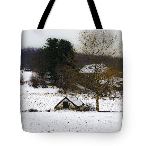 Snowy Pennsylvania Farm Tote Bag by Bill Cannon