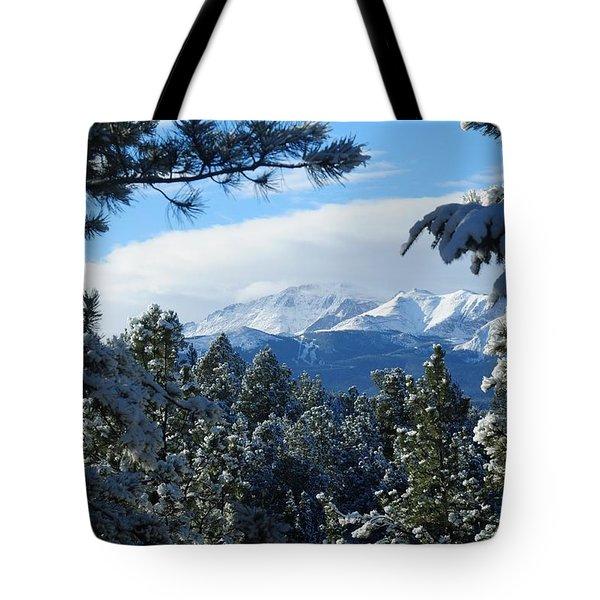 Snowy Pikes Peak Tote Bag