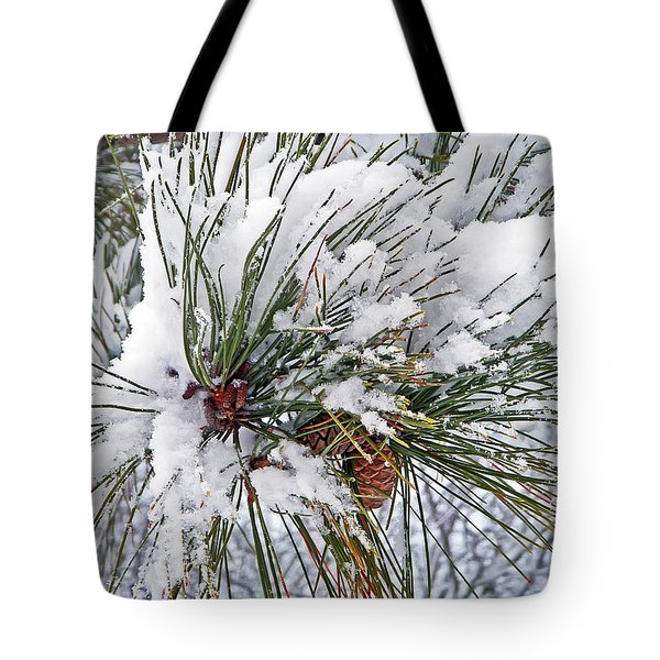 Snowy Pine Tote Bag by Aimee L Maher Photography and Art Visit ALMGallerydotcom