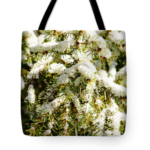 Snowy Pines Tote Bag