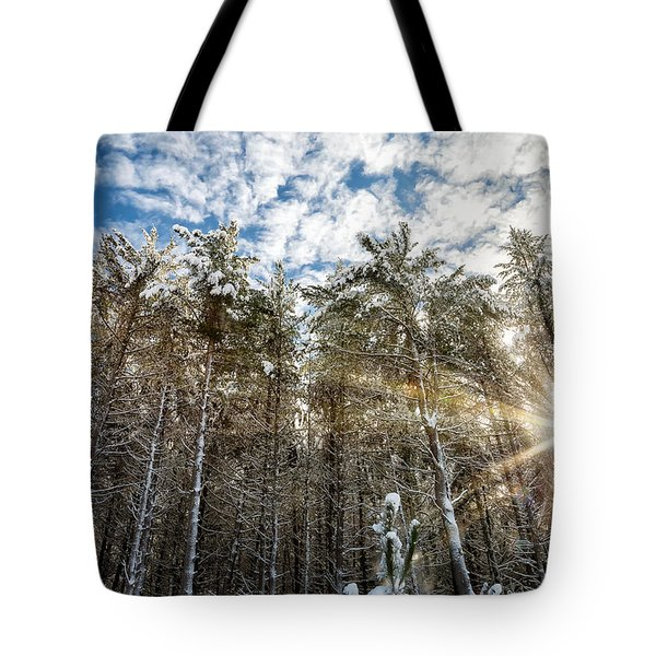 Snowy Pines With Sunflair Tote Bag by Brian Boudreau