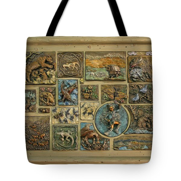 Tote Bag featuring the sculpture Snowy Range Life - Large Panel by Dawn Senior-Trask