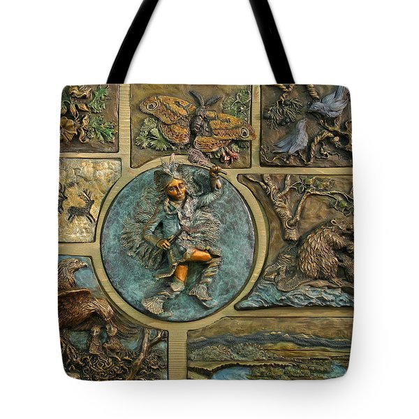 Tote Bag featuring the relief Snowy Range Life - Small Panel by Dawn Senior-Trask