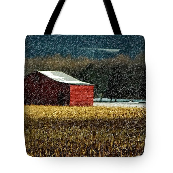 Snowy Red Barn In Winter Tote Bag by Lois Bryan