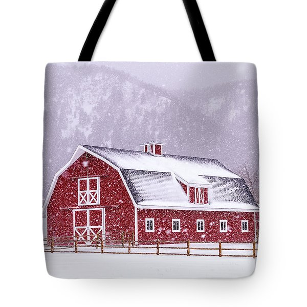 Snowy Red Barn Tote Bag