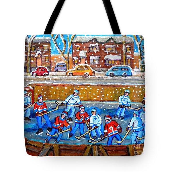 Snowy Rink Hockey Game Montreal Memories Winter Street Scene Painting Carole Spandau Tote Bag by Carole Spandau