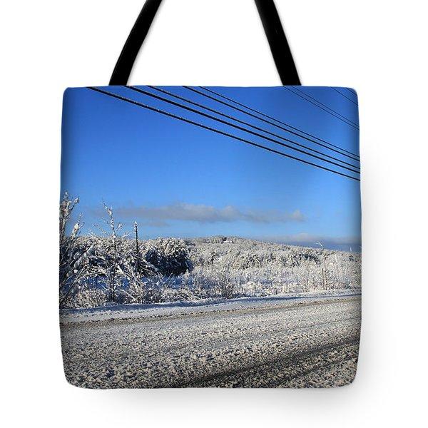 Snowy Roads Tote Bag by Michael Mooney